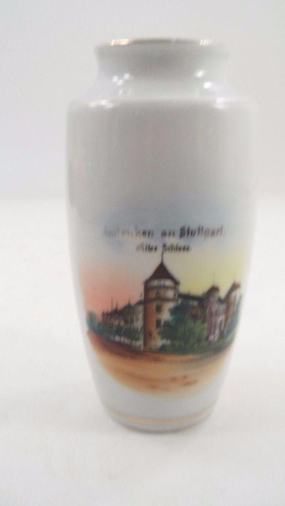 Small 1950s Porcelain Altes Schloss Stuttgart Germany Old Castle Souvenir Vase