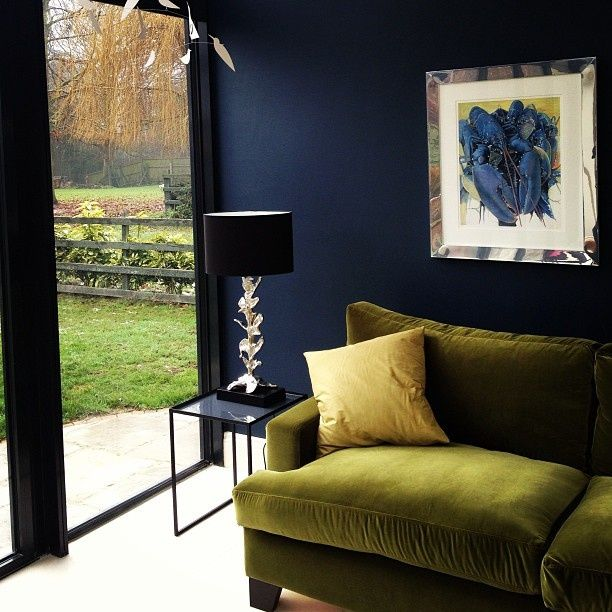 Crushing On Green Velvet Interiors I Love Pinterest Living Room Blue Walls And
