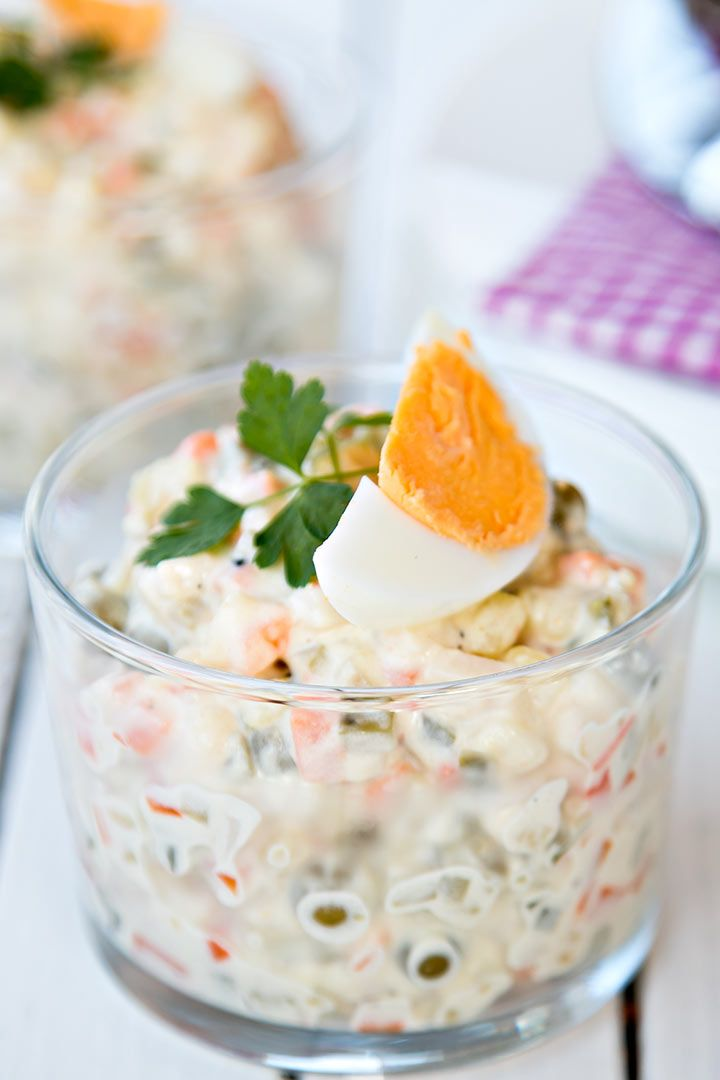 The salad is phenomenal; it goes perfectly with many dishes, like a good piece of roasted pork or lamb. #olivier #salad