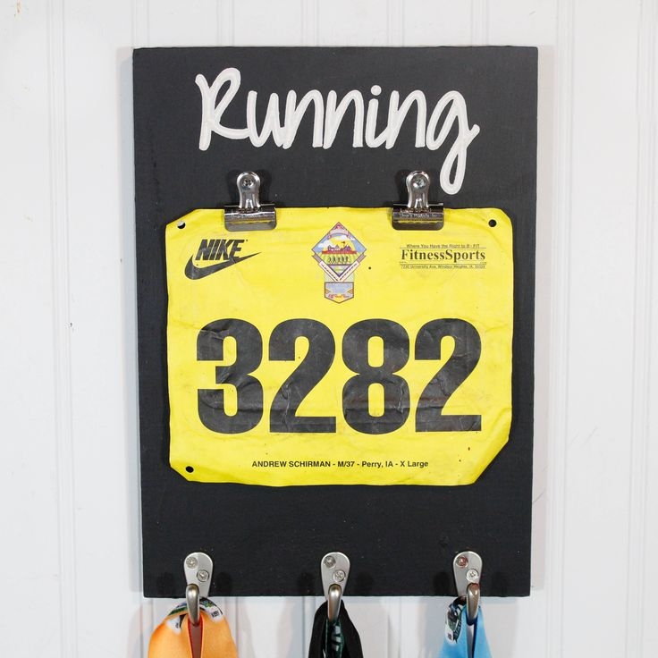 """Five1Five Signs uses hooks from D. Lawless to keep their costs down and they make these awesome racing hooks racks! From their Etsy store...""""We sell the best carved running medal holders out there and also take pride in our customer service!"""""""