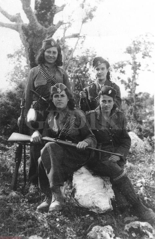 Ano Kerassia, Magnesia, Greece, 1944. Members of the 54th partisan Batallion of the National People's Liberation Army. b/w photo by Kostas Zimeris.
