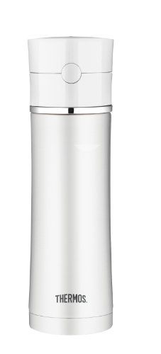 Thermos 17-Ounce Vacuum Insulated Stainless Steel Hydration Bottle, White by Thermos. $30.00. Sleek modern design, unbreakable stainless steel interior and exterior. Hygienic push button lid with a pop-up straw. 17-Ounce capacity, dishwasher safe. Entirely BPA free. Thermos vacuum insulation technology for maximum temperature retention, keeps liquids cold for up to 12 hours. Sleek style and functionality unite in the Sipp by Thermos vacuumware line of products. The...