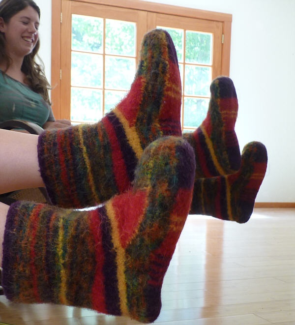 Knitted then felted Mukluks...gotta try these too! Warm footsies.