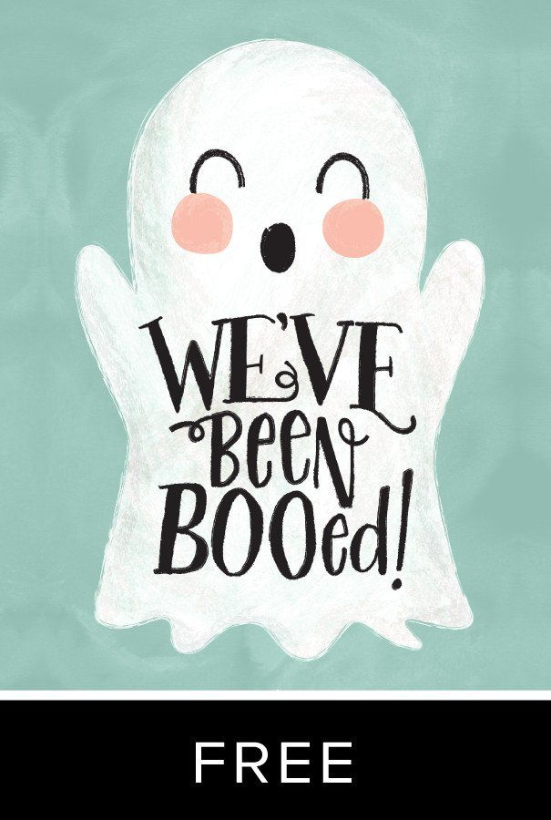 We've Been BOO-ed: Ghosty FREEBIE BOO! This fun printable will help you have some sneaky fun this Halloween. Simply print two copies of this page, and deliver the copies with some treats to your neighbors—be sure to be sneaky! You don't want them to know who you are. Then your neighbors can pay it forward and soon the whole neighborhood will be filled with treats and fun and Halloween spirit!