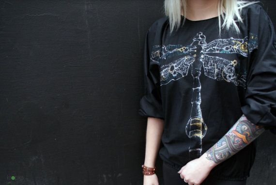 Steam punk Dragonfly Blouse Hand painted bomber by KropkaDesign