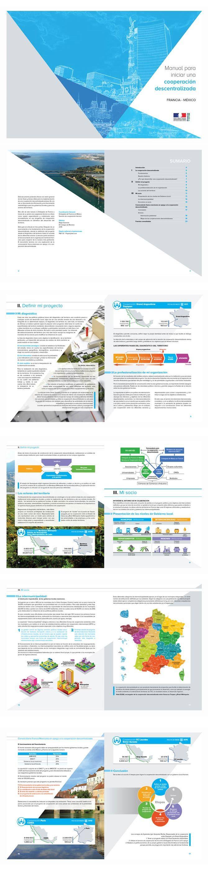 Cliente: Embajada de Francia en México. Servicio de cooperación técnica.  Diseño de portada y 20 páginas interiores para folleto informativo. Incluyó la realización de ilustraciones-esquemas y selección fotográfica.