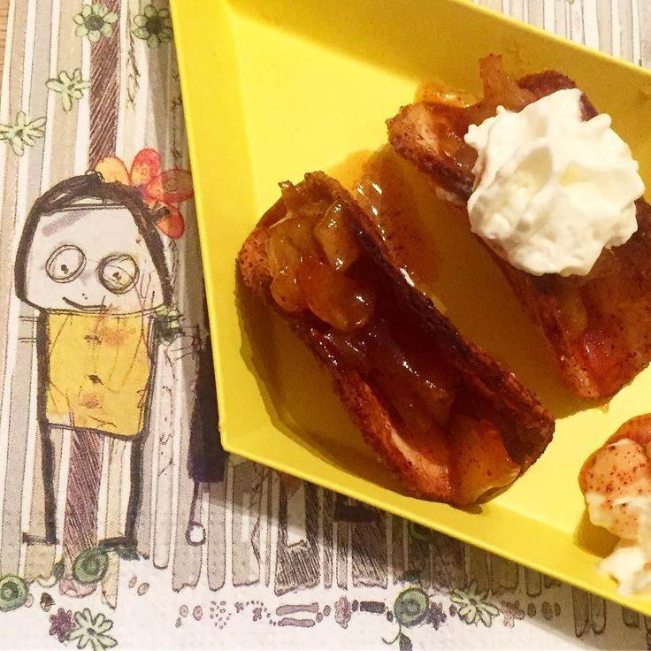 Tacolefser ble til tacoskjell og små eplepaier  #santamaria #eplepai #applepietaco #tacolefser #annettelekerbakeblogg