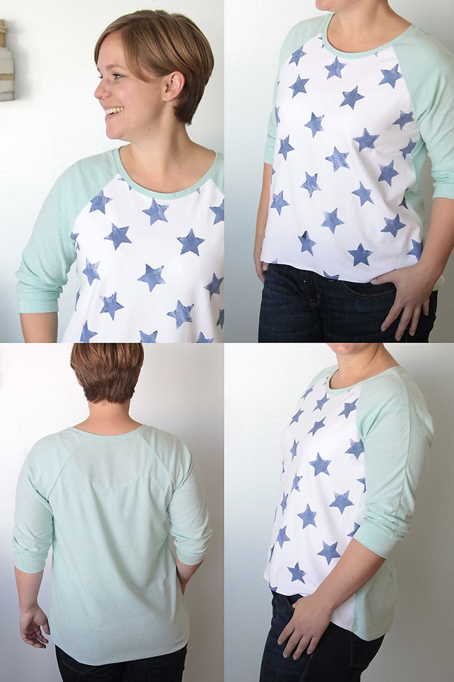free pattern for this cute colorblocked tee, plus instructions on making your own star stamp! from itsalwaysautumn.com