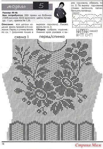 Filet Crochet shirt with floral sprays #1 Красная кофточка-филе_описание…