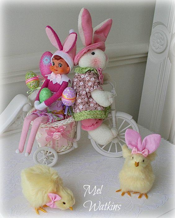 oster kken shabby chic huschen elfen kaninchen handwerkliches zum selbermachen pastell - Feldstein Kaminsimse