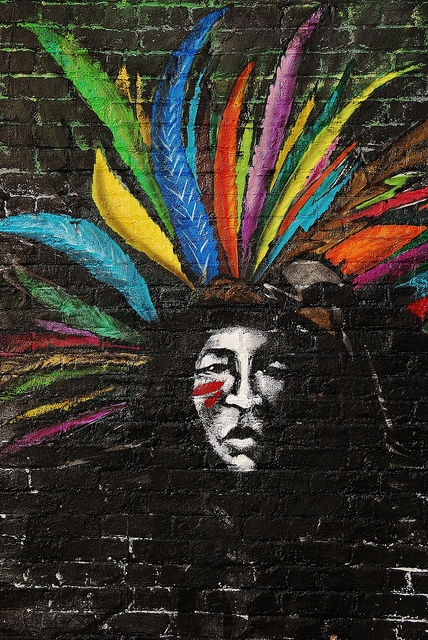 Native American Chief with feathers street art