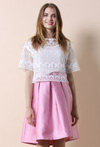 Flowers Calling Crochet Smock Top in White