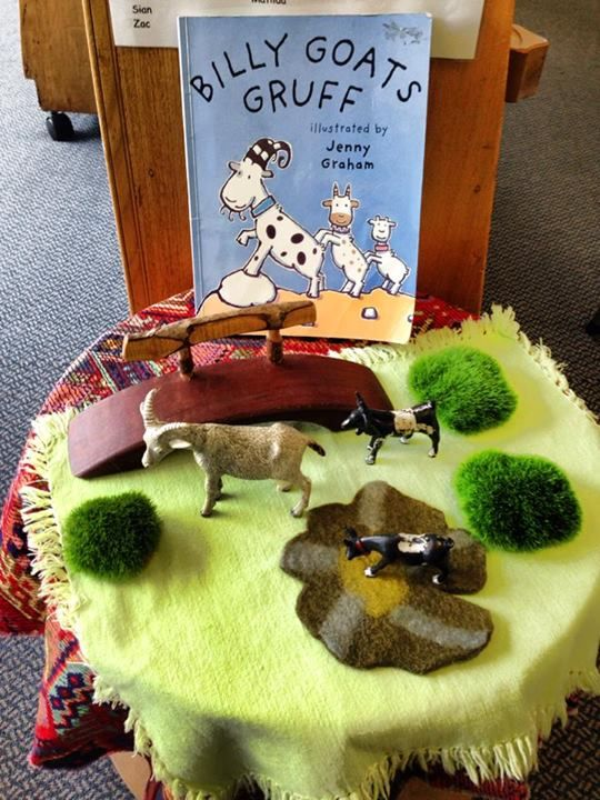 "Using props & different textures  to retell The Three Billy Goats Gruff - at Strathmore Heights Preschool, image shared by Yarn Strong Sista ("",)"