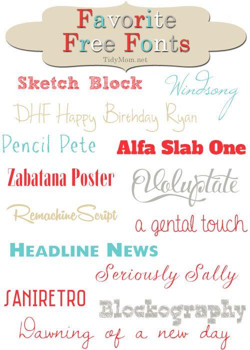 Favorite Free Fonts at TidyMom.net #font