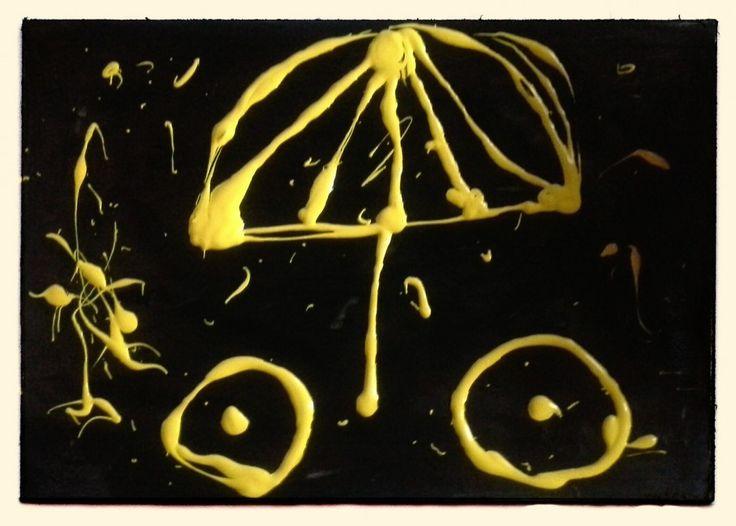 Das Schwarz rückt in den Hintergrund. Freude über das Leben drückt sich in Gelb aus. Schönheit ist aber nur ein verlockendes Angebot, bitte ... #acryl #dufthuhn.de