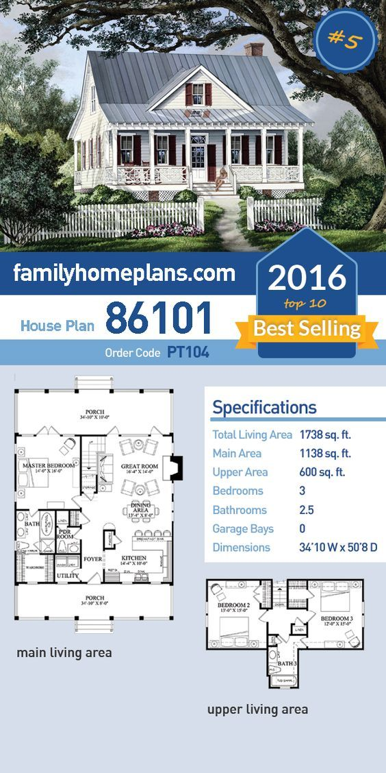 5 of 2016 39 s top ten best selling house plans farmhouse for Best selling small house plans