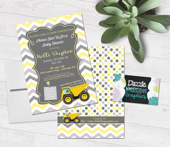 """Construction Baby Shower  a baby is under construction  dump This sweet invitation combines chevron and construction for the perfect baby shower invitation! Shades of yellow and gray chevron complement the yellow dump truck and """"Caution - a baby is under construction"""". Great for your construction or dump truck themed shower"""