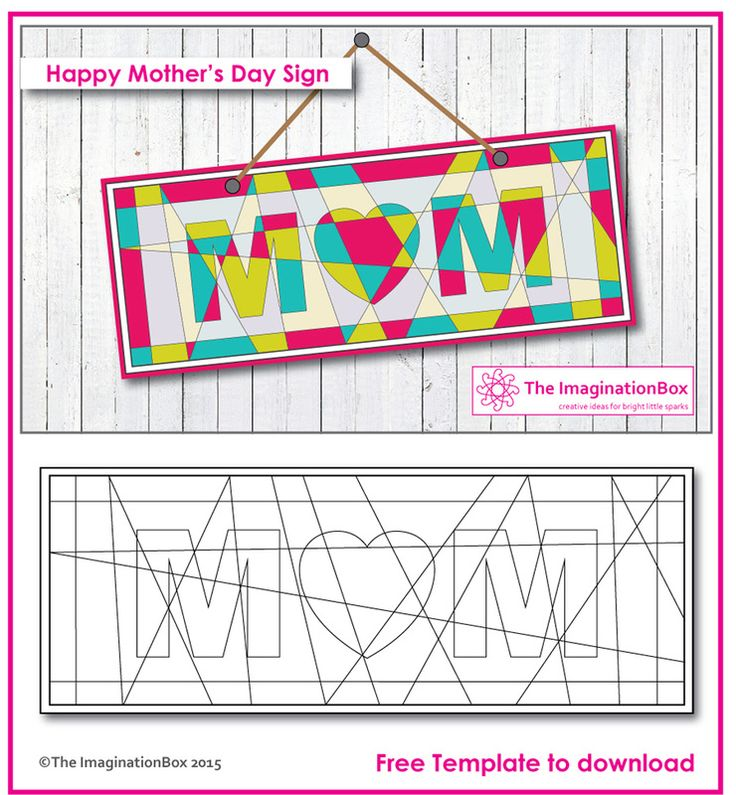 Decorate and make a 'modern art mom' sign this Mother's Day, free template to download