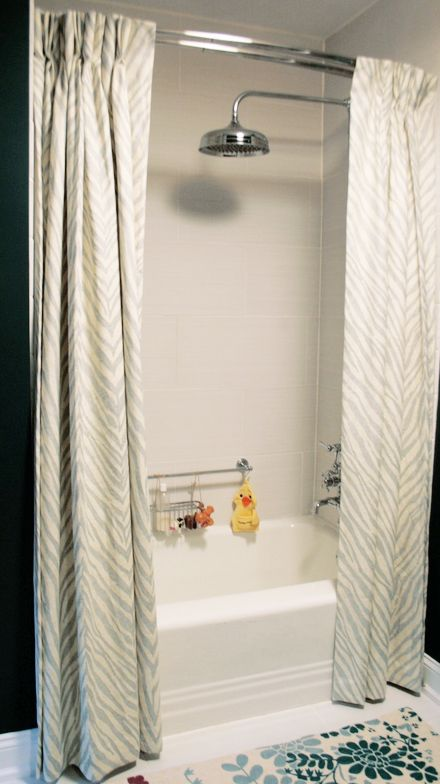 "Using a double-rod for curtains AND a traditional shower curtain. I always see people using 2 regular curtain panels to make the bath look fancier but it left me thinking ""but what about when you take a shower and the curtains get soaked?"""