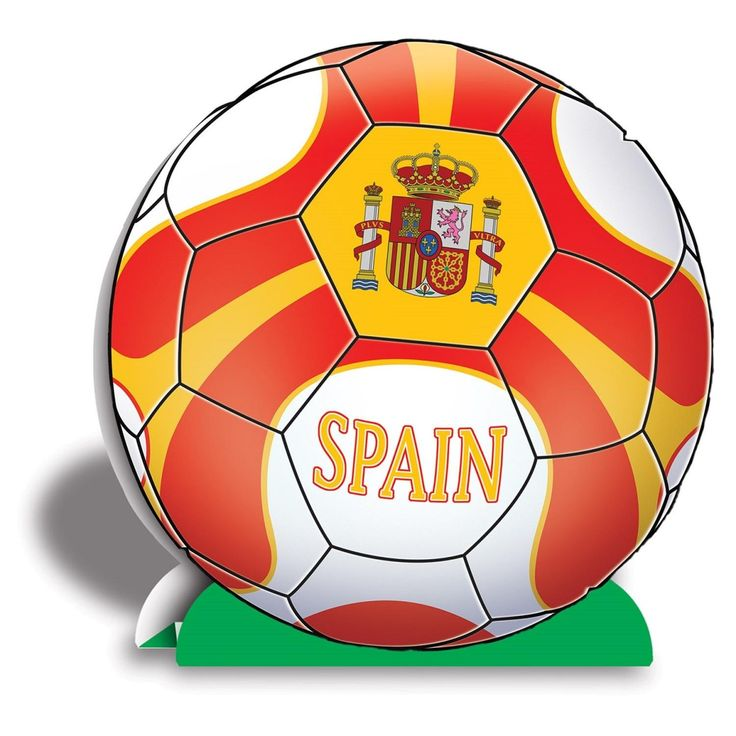 """Club Pack of 12 Red, Yellow and White 3-D Spain"""" Soccer Ball Centerpieces 10"""""""