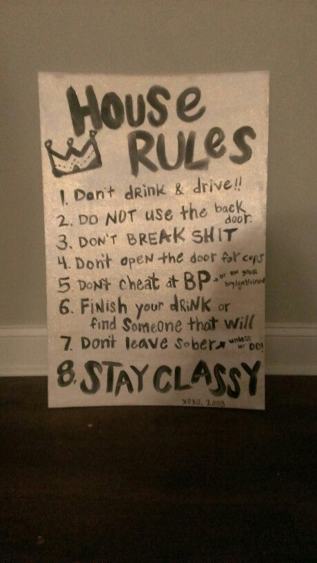 House rules for a college party