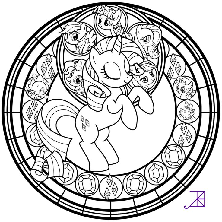 Stained Glass: Rarity -line art- by Akili-Amethyst.deviantart.com on @deviantART