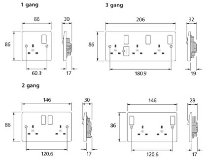 13a Switched Socket Outlet Dimension Google Search