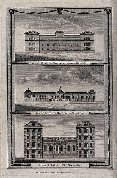 St.Luke's Hospital,Moorfields (top), Bethlem Hospital (middle),and St. Paul's School (bottom),London:the facade of each.Engraving by J.Peltro.Hooke was Surveyor to the City of London and chief assistant to Christopher Wren, in which capacity he helped Wren rebuild London after the Great Fire in 1666,and also worked on the design of London's Monument to the fire, the Royal Greenwich Observatory,Montagu House in Bloomsbury, and the Bethlem Royal Hospital (which became known as 'Bedlam').