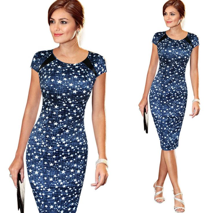 Fashion Free Shipping Designer Women Dress Elegant Floral Print Work Business Casual Party Pencil Sheath Vestidos