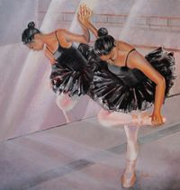 """I captured this ballet dancer in a great pose with the reflection in the mirror. I was faced with the challenge of painting both her actual body and her image in the mirror for an interesting composition. """"Anjali"""" is available for sale at http://www.fontainefineart.com/anjali.shtml"""