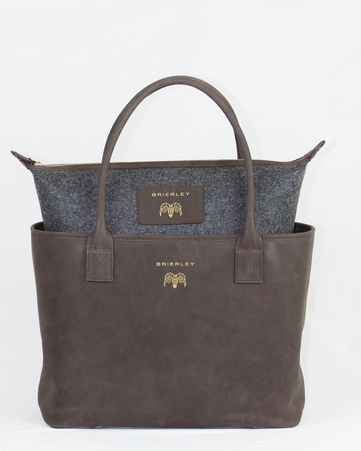 Brown leather Heritage Bag with removable grey felt pouch