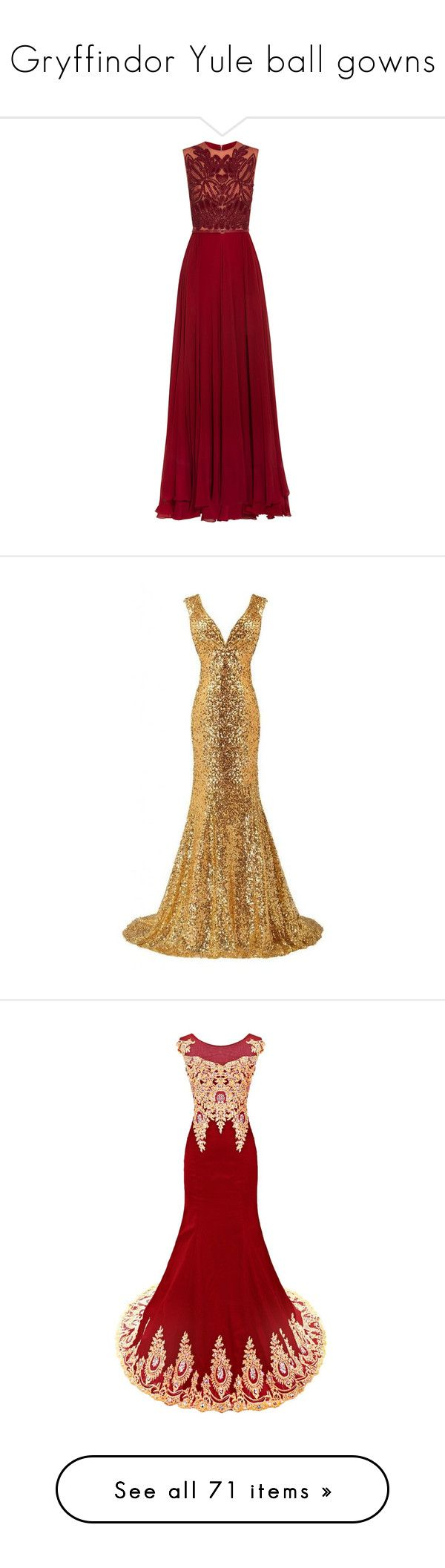 """""""Gryffindor Yule ball gowns"""" by weeby ❤ liked on Polyvore featuring fans, dresses, gowns, red, beaded evening dresses, red sequin dress, red sequin evening gown, sequin gown, red gown and long dresses"""