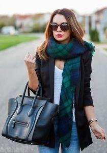 Zara Navy Blue Green Tartan Plaid Scarf Wrap Bloggers 100 Genuine | eBay