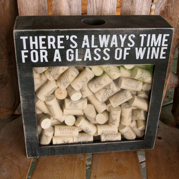 Shadow Box Wine Cork Holder There's always time for a glass of wine bar sign wine sign