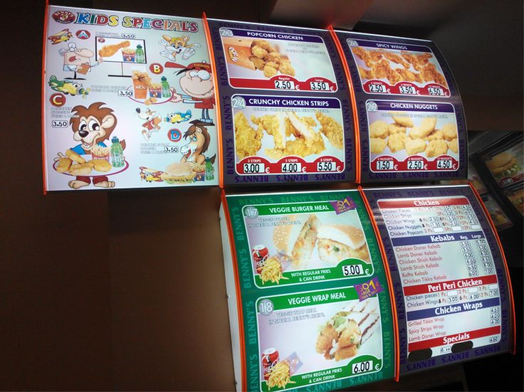 Full-colour interior lightboxes used as menu displays.