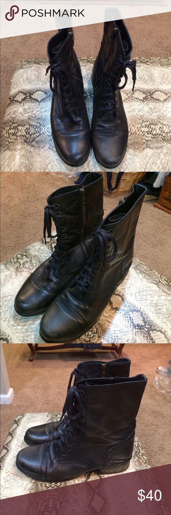 Steve Madden Troopa Black Boots Black leather distressed style boot with lace up front and zipper side. True to size. Comfortable and lightly worn. Steve Madden Shoes Lace Up Boots