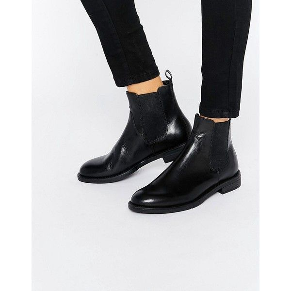 Vagabond Amina Black Leather Chelsea Boots ($135) ❤ liked on Polyvore featuring shoes, boots, ankle booties, black, black booties, chelsea bootie, chelsea boots, black chelsea ankle boots and black boots