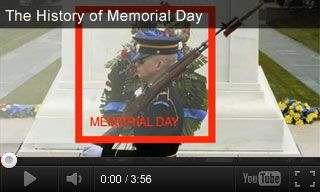 Educational Video: The History of Memorial Day http://www.teachervision.fen.com/memorial-day/video/73217.html President Barack Obama explains the origins of Memorial Day in this educational video. Students will learn about Memorial Day traditions and the Tomb of the Unknown Soldier. It's paired with three classroom activities for grades K-5.