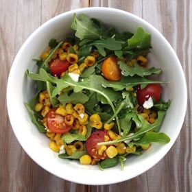 Pan-Roasted Corn, Goat Cheese and Arugula Salad