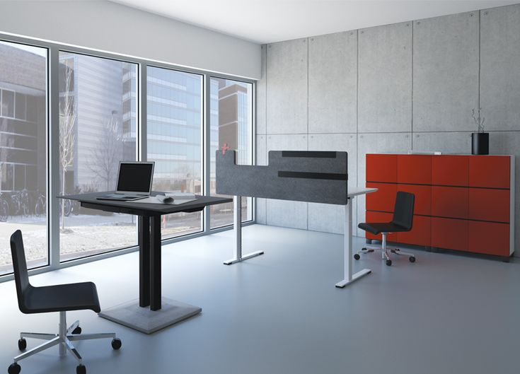 Rode kantoorkasten in een chique ingerichte kantoorruimte | Red office cabinets