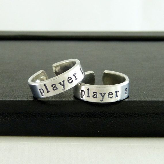 Player 1 & Player 2 Video Game Ring Set - Gamer Gift - Best Friends - Adjustable Aluminum Rings