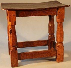 Lot 1 - Grantham Auction Rooms - 4 June 2014 - Robert 'Mouseman' Thompson design stool est £100-£150