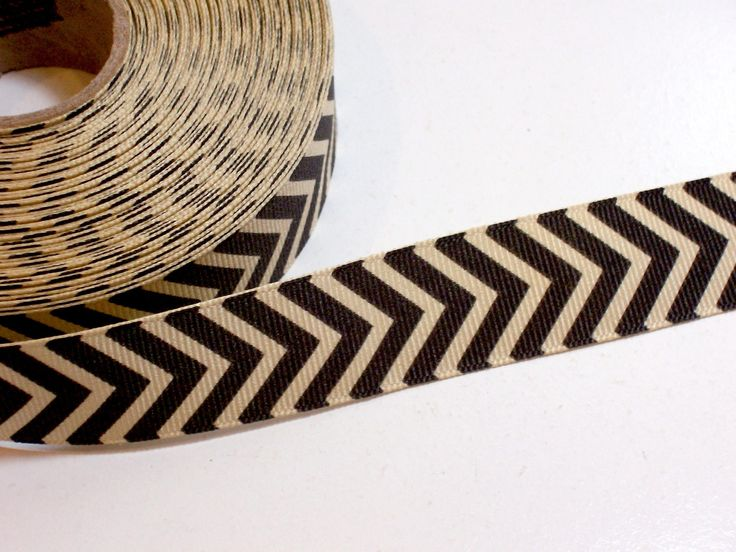 Chevron Ribbon, Beige and Black Grosgrain Ribbon 7/8 inch wide x 10 yards, Offray Brand Chevron Ribbon by GriffithGardens on Etsy