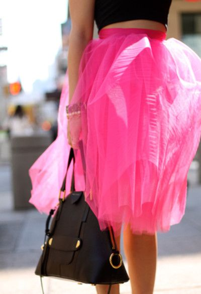 hot pink tulle ballerina skirt with black - spring street style