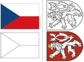 Omalovánky české vlajky, malého státního znaku a velkého státního znaku