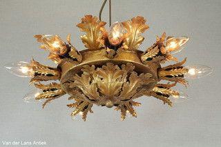 Italiaanse plafonniere 26119 bij Van der Lans Antiek. Meer antieke lampen op www.lansantiek.com