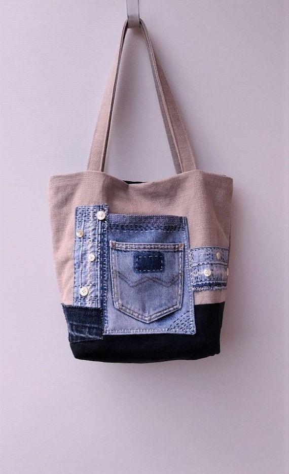 772420eb3 Small/medium tote bag, Jeans recycle bag, Shoulder bag, Handmade bag,  One-of-a-kind bag, Sashiko style bag. Canvas tote bag #tote #totebag  #canvasbag ...