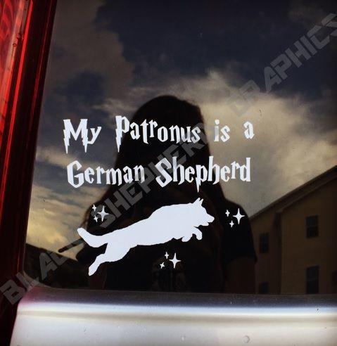 German Shepherd Patronus Decal by Black Shepherd Graphics