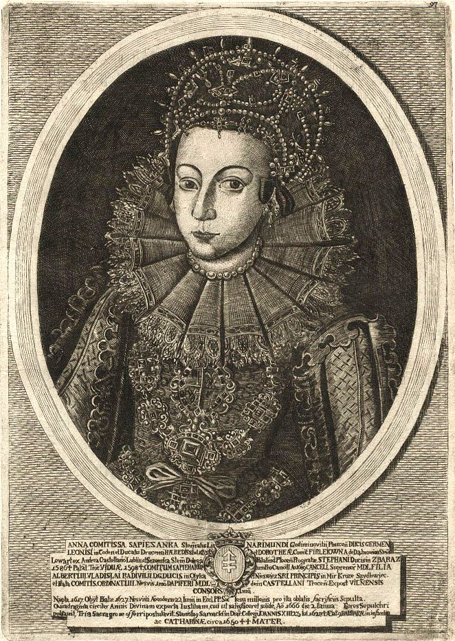 Engraved portrait of 17th century Polish noblewoman Hanna Radzivił Sapieha