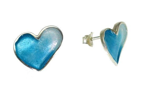 Heart Earrings, Stud Earrings, Red Enamel Heart Earrings, Blue Heart Earrings, Heart Valentine, Gift for her, Giampouras
